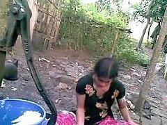 Bangla Desi Shameless Village Friend Nupur Bathing Outdoor